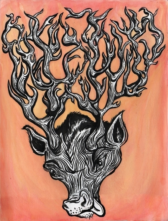 Tangly Antlers - illustration, ink - carolinemarks | ello