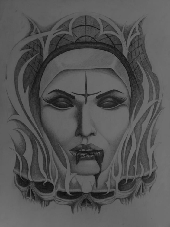 Evil nun - drawing - steven-8489 | ello
