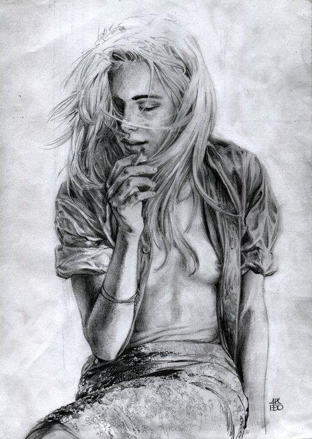 Smoking girl - illustration, portrait - alexideo | ello