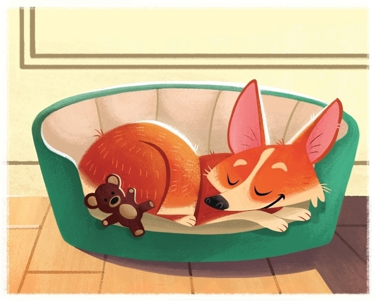 Sleepy corgi - dog, characterdesign - ashleyodell | ello
