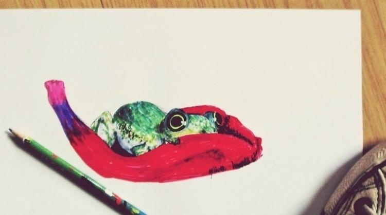 frog, illustration, markers, painting - amandaloyolla   ello