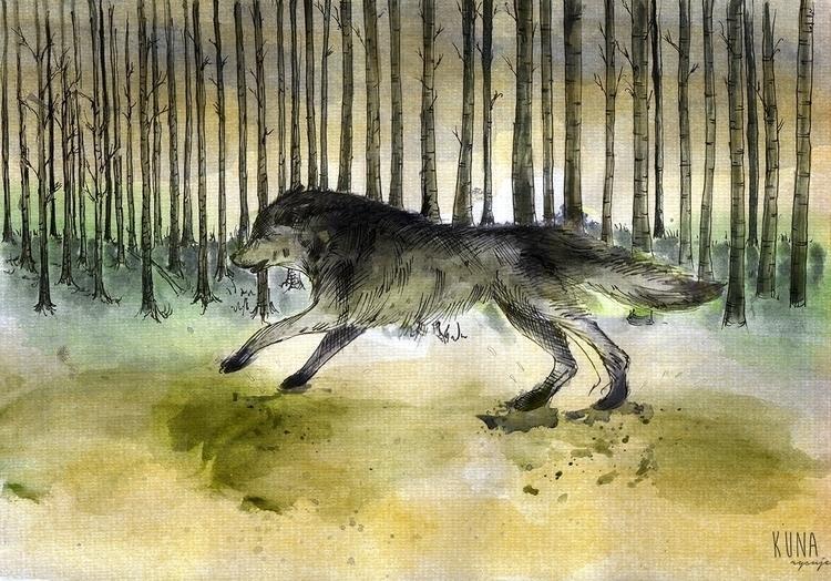 Wolf :-) nice free time - wolf, illustration - kunarysuje | ello