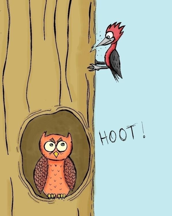 Hoot - hoot, owl, woodpecker, tree - arvindm | ello