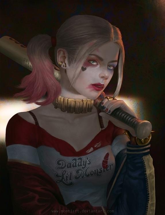 Harley Quinn - illustration, painting - montjart | ello