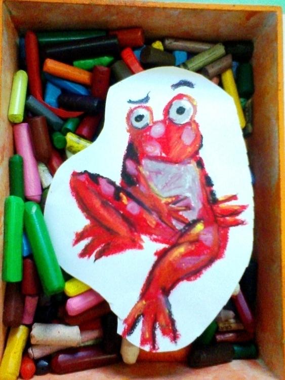 crayon, painting, frog, illustration - amandaloyolla   ello