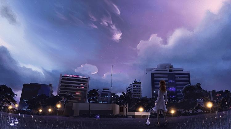 Night Sky - illustration, painting - pdp-3098   ello