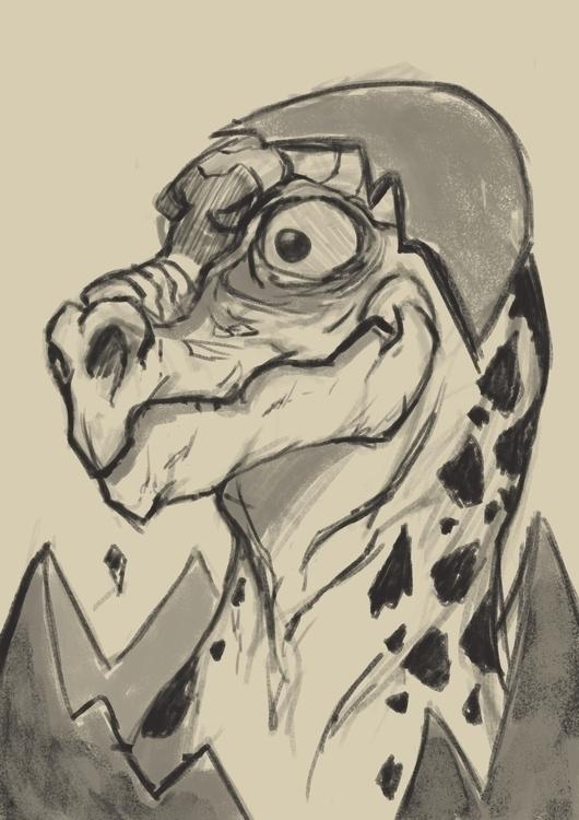 Baby Dino - illustration, drawing - npzorzetto | ello