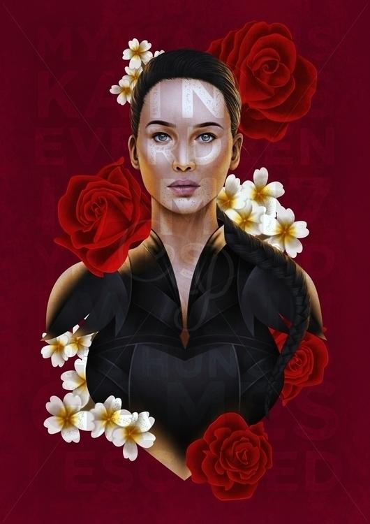 Katniss Everdeen Hunger Games - illustration - aeme | ello