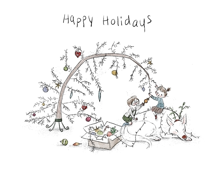 Happy Holidays - art, kidlitart - elizabetvukovic | ello