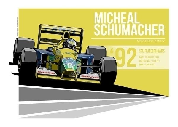 Michael Schumacher - 1992 Spa - illustration - evandeciren | ello