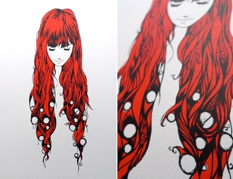 Red Head - screenprint - illustration - defriend | ello