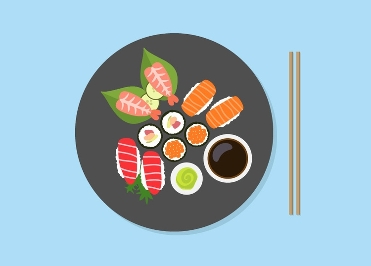 Tasty sushi - vector, food, foodillustration - joanacoelho | ello