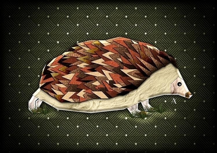 hedgehog - illustration, animals - akumimpi | ello