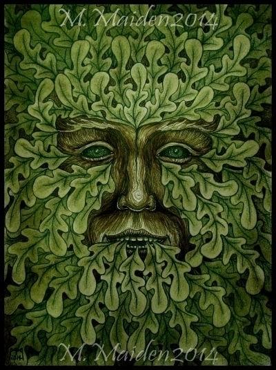 Oak King, 2014, 9in 12in waterc - mmaiden | ello