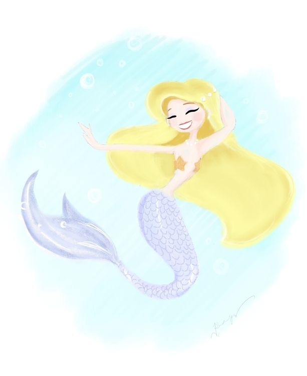 painting, mermaid, characterdesign - roxanneeee | ello