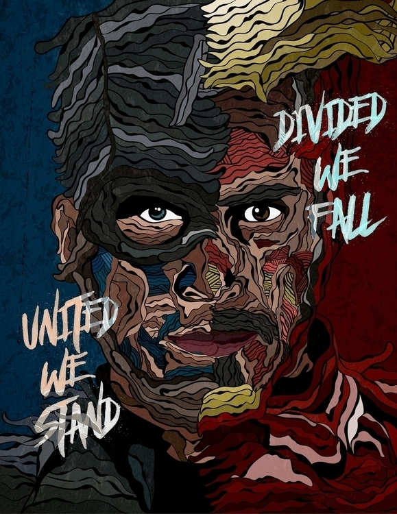 United Stand, Divided Fall - illustration - karylnerona | ello