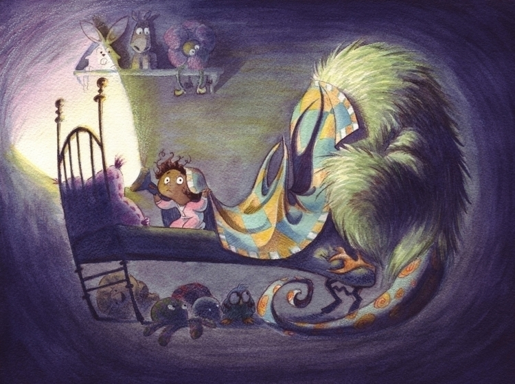 Bed buddies - monster, girls, watercolor - rinibeans | ello
