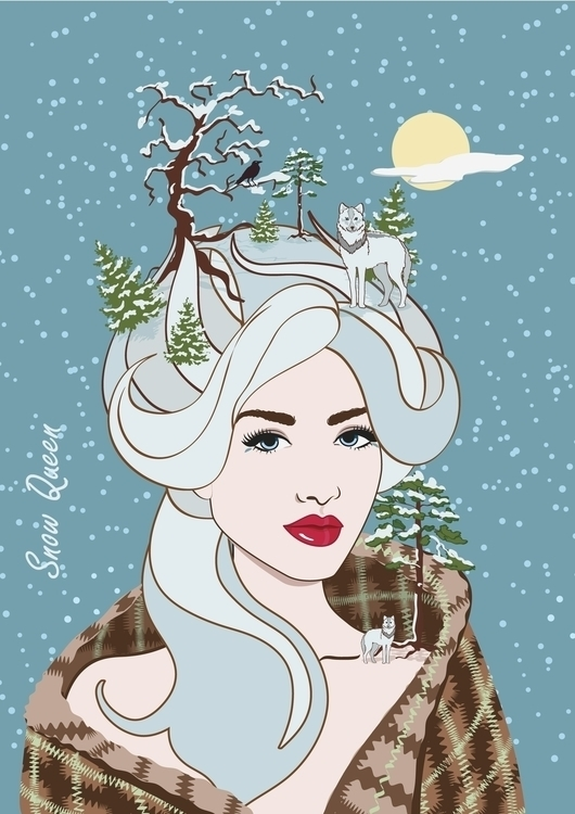 winter, wolf, girl, snow, illustration - irina_rakyta | ello