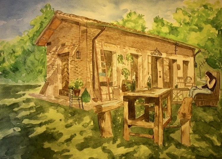 Garden Love - painting, watercolor - elenamantovan | ello