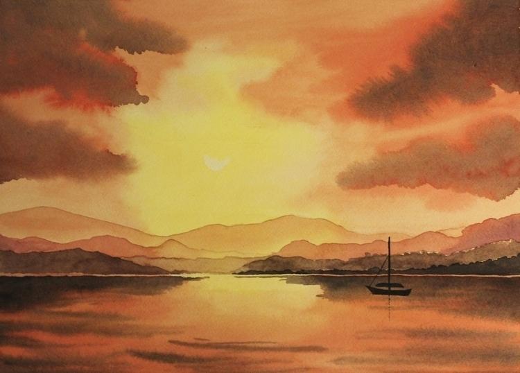 Sunset - watercolor, painting, lake - elenamantovan | ello