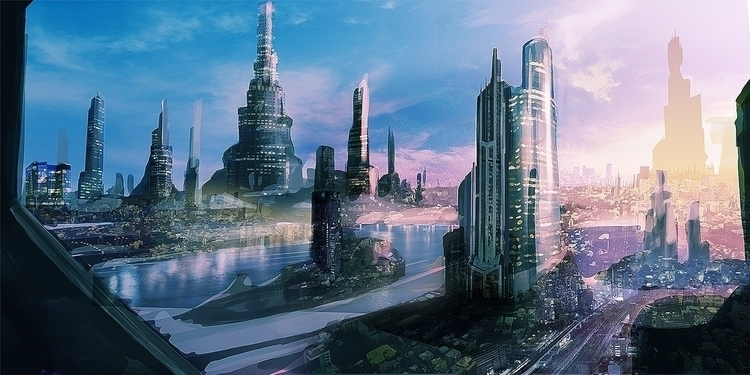 Future city - illustration, painting - box010 | ello