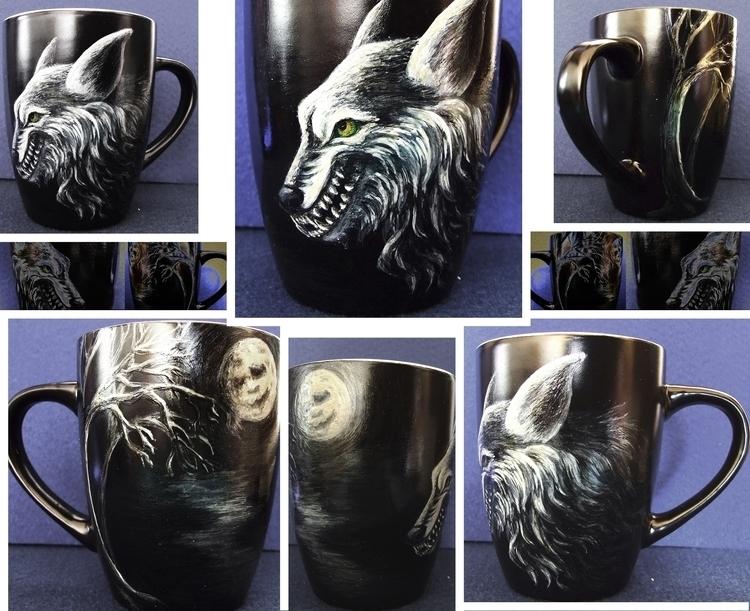 Wolf - illustration, cup, teacup - aiakira | ello