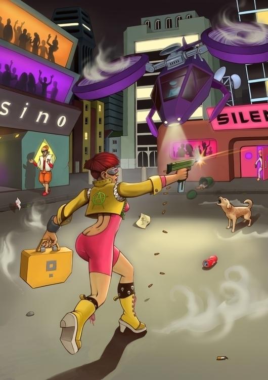 Robbery - cyberpunk, girl, robbery - gladtom | ello