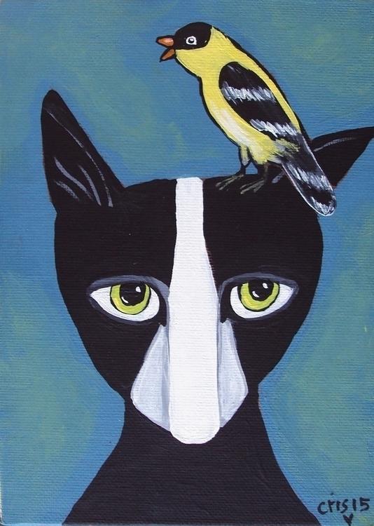 originalfolkart, painting, cat - cristinegreen | ello