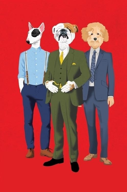 Fashionable Dogs - dogs, animals - drawgood   ello