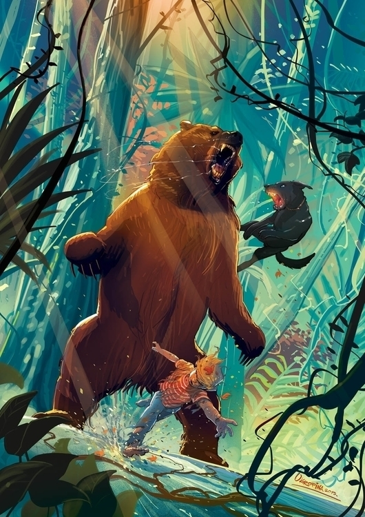 boy bear - jungle, dog, forest, illustration - jovanukropina | ello