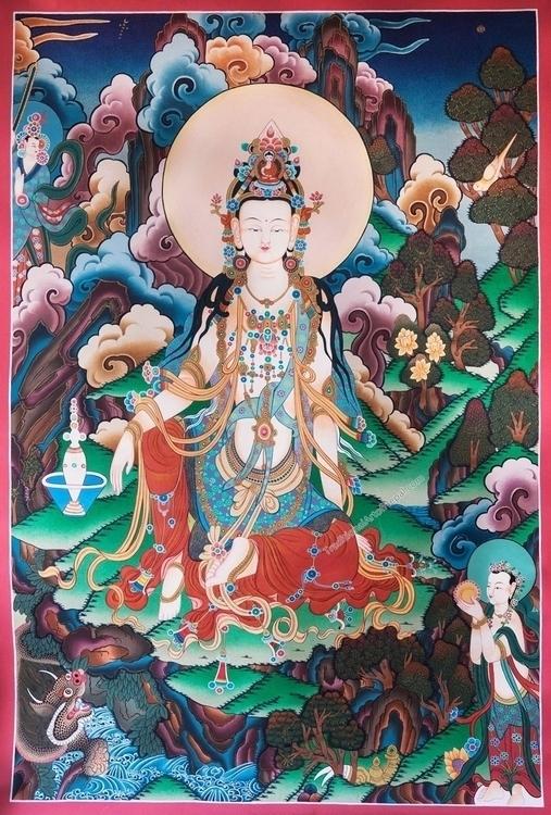 Guanyin Thangka Painting - QuanYin - thangka_mandala | ello