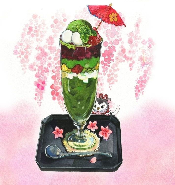 Matcha ice cream illustration - drawing - yanyongchen | ello