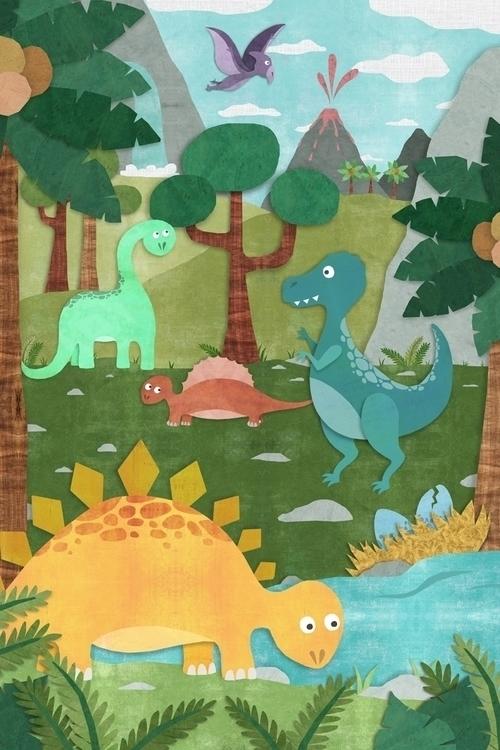 DinoLand - dinosaur, kidswallart - acfeagan   ello