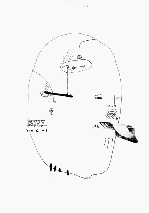 STAY VAGUE HEAD - illustration, drawing - kimbogruff | ello