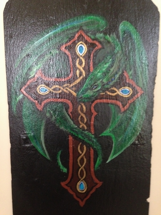 Celtic Dragon - celtic, dragon, acrylic - khesspowell | ello