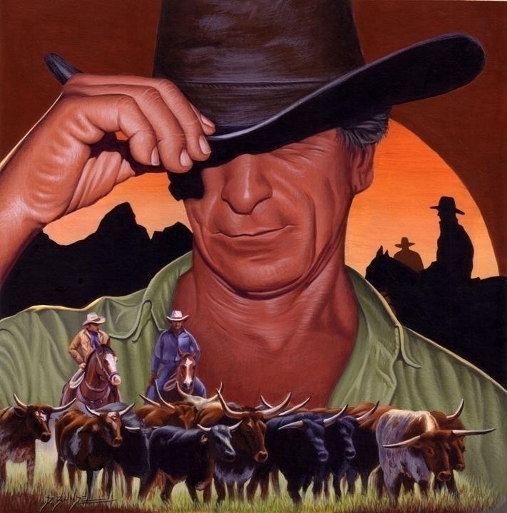 Sunset Cowboy - illustration - dallynzundel | ello