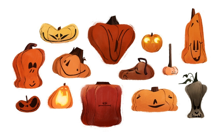 pumpkin designs. Happy October - valerieschwarz | ello