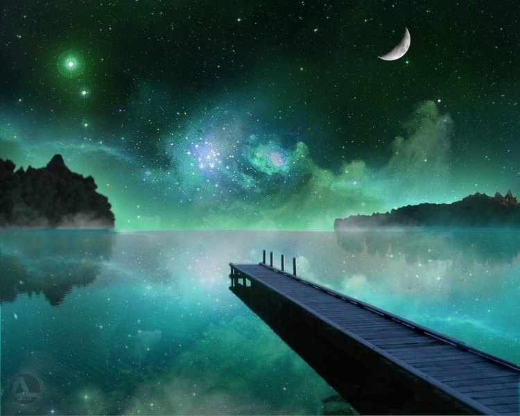 Lake Night - fantasyart - aldianlo | ello