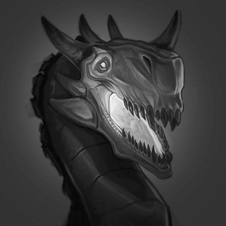 dragon. Painting practice - blackandwhite - sqschwartz | ello