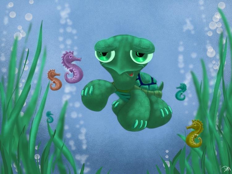 Baby Turtle Friends - seahorse, illustration - dmerchen | ello