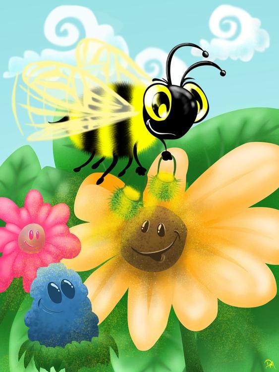 HoneyBee - bee, flowers, illustration - dmerchen | ello