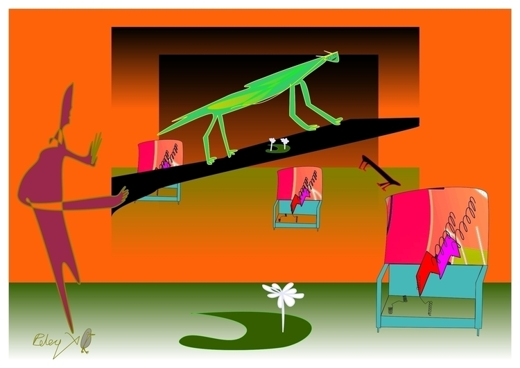 Preying Mantus 2 - illustration - danielspeterv | ello