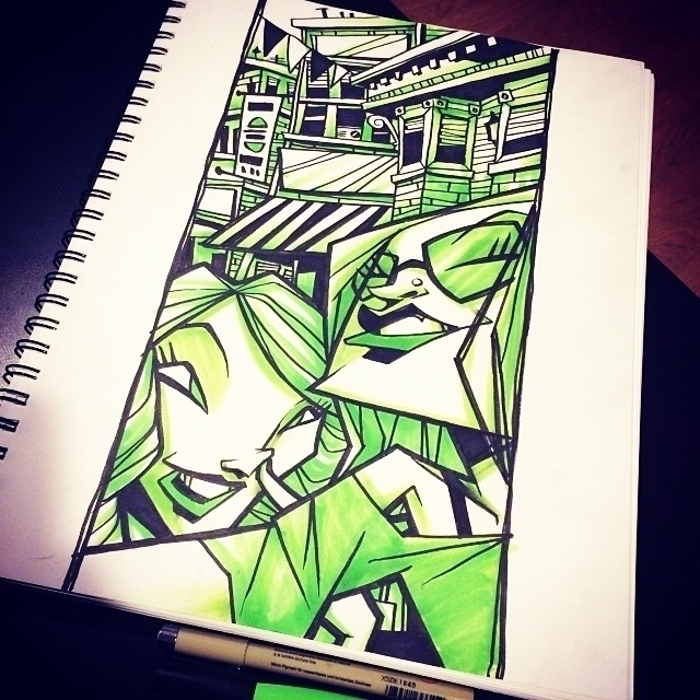 Selfie green - illustration, drawing - iamosi | ello