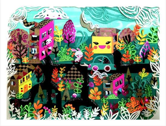 Color City - paper-cut illustra - ginamayes | ello