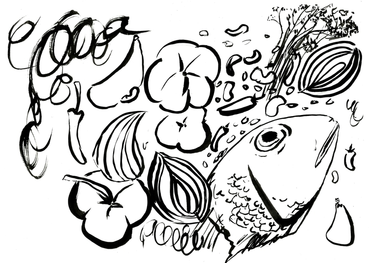 Brush Drawing fish mixed pepper - reebek | ello