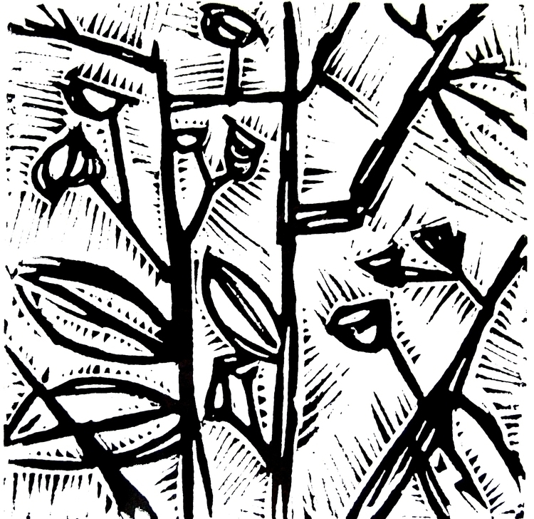 Eucalypt - linoprint, blackandwhite - janickejohansen | ello