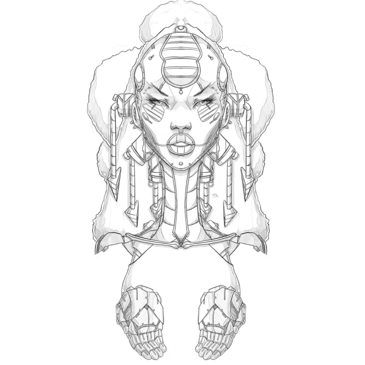 Afro-Mecha Series Piece Juku - illustration - theonewillfocus | ello