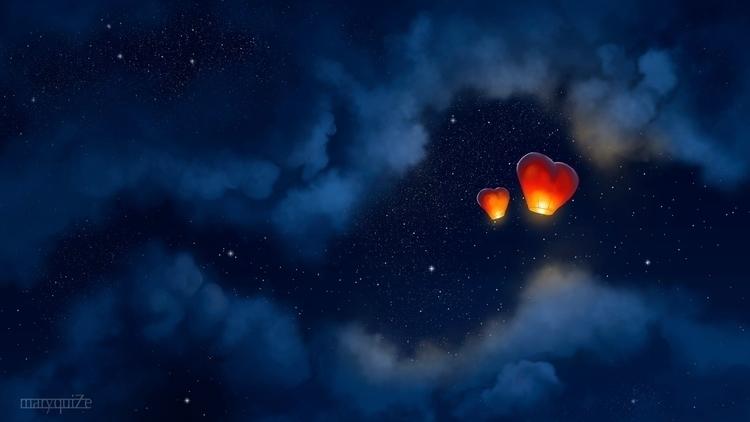 Flying lanterns loving hearts - illustration - maryquize | ello