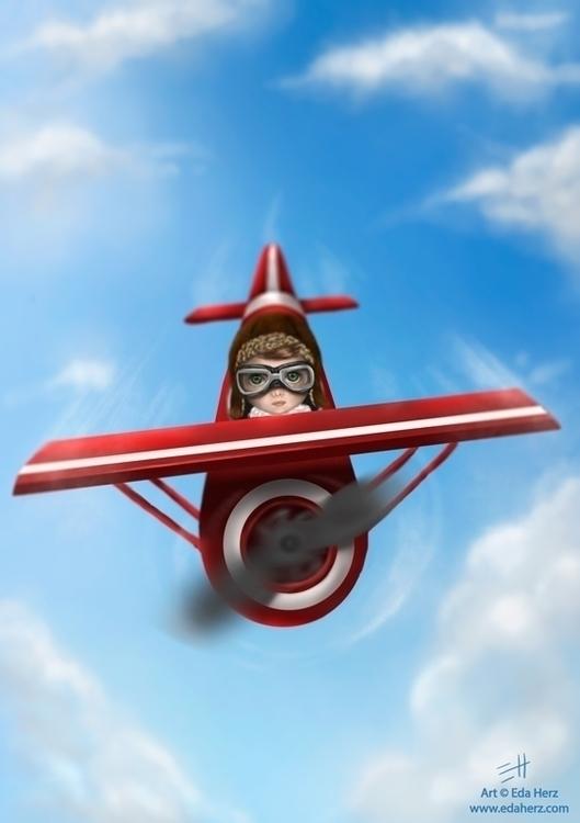 Airplane - illustration, painting - edaherz | ello