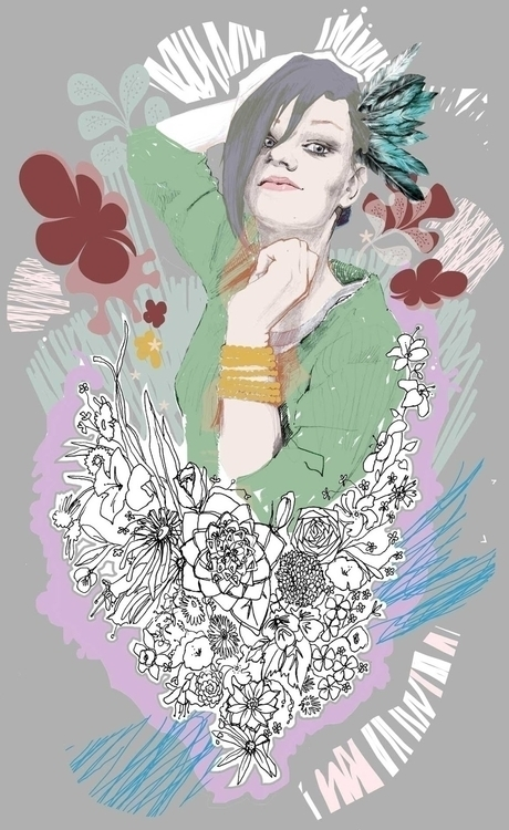 Floral - illustration, womanportrait - kasia_urbaniak | ello